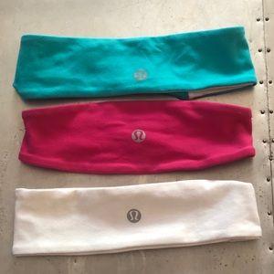 3 lulumeon reversible headbands